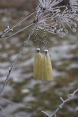 Náušnice - Náušnice strapcové vanilkové - 11490334_