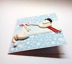 Papiernictvo - Pohľadnica ... priletí bocian  (Modrá) - 11493211_