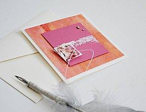 Papiernictvo - Gratulačný pozdrav - kvety na pink - 11493151_