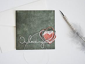 Papiernictvo - Valentínka - olivovočervené srdiečka - 11493185_