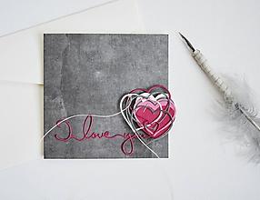 Papiernictvo - Valentínka - sivoružové srdiečka - 11493189_