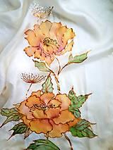 Šály - Šál hodvábny - orange flowers - 11492605_