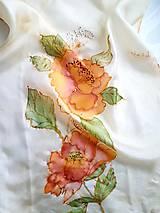 Šály - Šál hodvábny - orange flowers - 11492622_