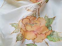 Šály - Šál hodvábny - orange flowers - 11492627_