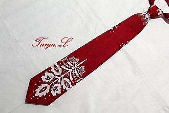 Doplnky - pánska kravata Slovakia folk tri farebné varianty (červená č.3) - 11492042_