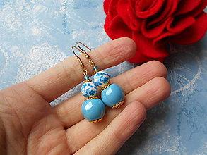 Náušnice - Modré porcelánky II. - 11493106_
