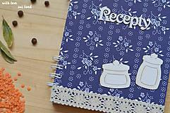 Papiernictvo - Receptárik - modrotlač (dózičky) - 11494598_