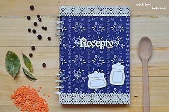 Papiernictvo - Receptárik - modrotlač (dózičky) - 11494600_