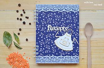 Papiernictvo - Receptárik - modrotlač (zásterka) - 11494634_
