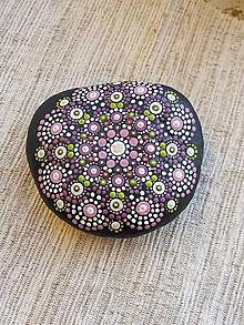 Dekorácie - Ružovozelený - Na kameni maľované - 11494342_