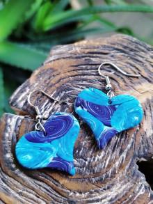 Náušnice - Náušnice modré srdce - 11494114_
