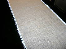 Úžitkový textil - Jutový behúň s krajkou - 11493364_