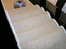Úžitkový textil - Jutový behúň s krajkou - 11493366_