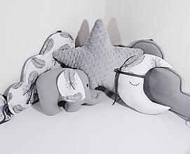 Textil - Detské dekoračné vankúšiky hviezda, sloník, mesiačik - 11494914_