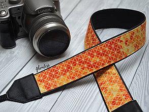 Iné doplnky - Popruh na fotoaparát - Oranžové diamanty - 11497226_