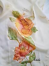 Šály - Šál hodvábny - orange flowers - 11495127_