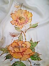 Šály - Šál hodvábny - orange flowers - 11495128_