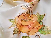 Šály - Šál hodvábny - orange flowers - 11495132_