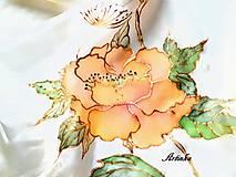 Šály - Šál hodvábny - orange flowers - 11495133_
