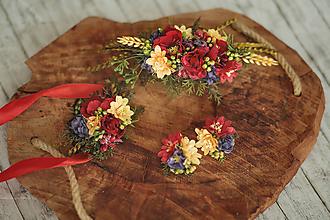 Ozdoby do vlasov - Spoločenský / svadobný folk set: polvenček, naušnice a náramok - 11496076_
