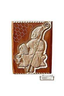 Obrazy - Drevorezba - sv. Ambróz patrón včelárov - sediaci - 11496519_