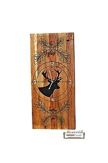 Hodiny - Dubové hodiny s poľovníckym motívom - 11496592_