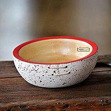 Nádoby - Drevená buková miska bielo-červená fŕkaná prešívaná Ø17/6 - 11497104_