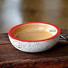 Nádoby - Drevená buková miska bielo-červená fŕkaná Ø18/5 - 11497131_