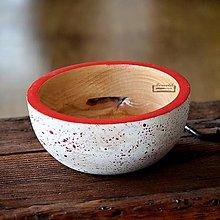 Nádoby - Drevená buková miska bielo-červená fŕkaná Ø19/8 - 11497153_