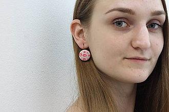 Náušnice - Náušnice na francúzskych háčikoch Ružové kvietky - 11495793_