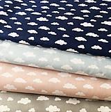 Textil - bielo-modré obláčiky, 100 % bavlna Francúzsko, šírka 150 cm - 11495232_