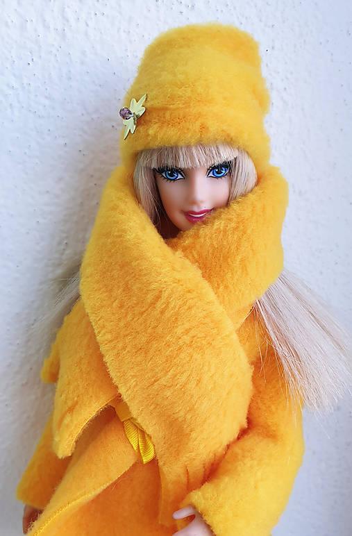 Žltý set čiapka+šálik pre Barbie
