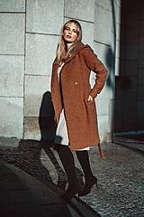 Kabáty - Hnědý kabát s kapucí - 11498786_