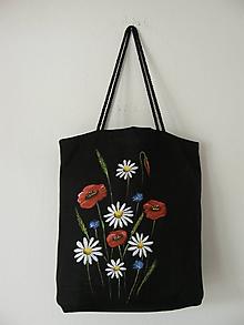 Nákupné tašky - Nákupná taška lúčne kvety (čierna) - 11496377_