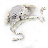 Detské čiapky - Zimná čiapka psík silver / cream - 11495675_