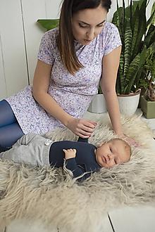 Tehotenské/Na dojčenie - Šaty na dojčenie Lila krátky rukáv - 11495676_