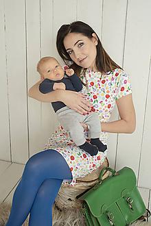 Tehotenské/Na dojčenie - Kvietkované šaty na dojčenie krátky rukáv - 11495699_