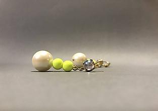 Náušnice - Nápadné náušnice s belasím kamienkom a perlou - 11496611_