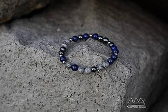 Náramky - náramok z minerálov - oceľový atrament - 11498888_