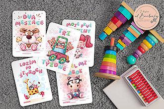 Detské doplnky - Dievčenské míľnikové kartičky #set_3 - 11497630_