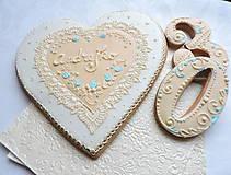Dekorácie - Medovníkové srdce 19 cm - 11499510_