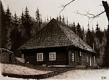 Kresby - Kresba - Chalúpka uprostred lesa - 11501641_