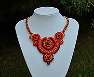 Náhrdelníky - Soutache náhrdelník červeno-zlatý Bathory - 11499276_