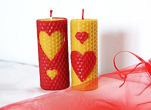 Svietidlá a sviečky - Dvojica sviečok srdiečka - 11500922_