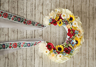 Ozdoby do vlasov - Folklórna svadobná kvetinová parta - 11501306_