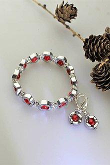 Sady šperkov - hematit a červený jadeit náramok a náušnice - 11500796_
