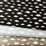Textil - čierno-biele obláčiky, 100 % bavlna Francúzsko, šírka 150 cm - 11499645_