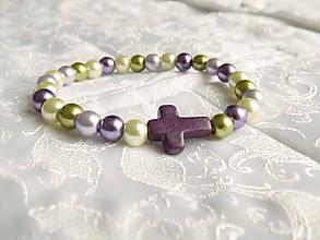Náramky - Fialovo zelený náramok s krížikom - 11501614_