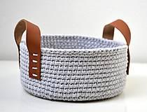 Košíky - Háčkovaný košík bavlnený s koženými uškami - 11502814_
