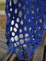 Šály - Modrý dámsky vlnený šál - 11504537_